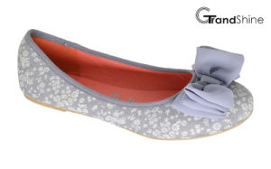 Women′s Printed Canvas with Bow Flat Casual Ballet Shoes pictures & photos
