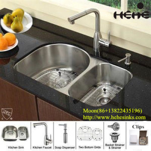 304 Stainless Steel Kitchen Sink 8052al (70/30) for Handmade with Cupc pictures & photos
