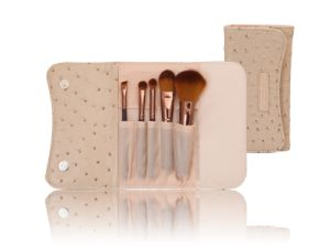Beige Ostrich Style Nylon Hair Makeup Cosmetic Brush Set (5PCS) pictures & photos