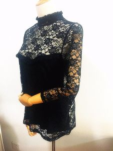 Women High Neck Flare Sleeve Nylon Spandex Lace Tops pictures & photos