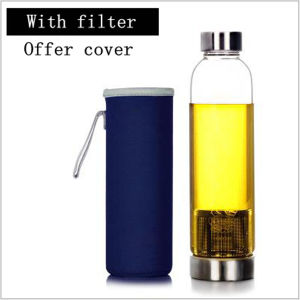 550ml Portable Glass Drinking Water Bottle Tea Infuser Bottle (DC-QDG1-550) pictures & photos