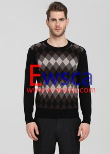 Men′s Diamond Patterns Pure Cashmere Sweater pictures & photos