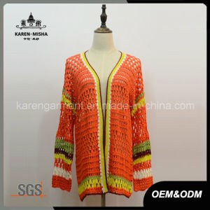 Acrylic Striped Handmade Crochet Coat for Women pictures & photos