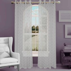 Jacquard Sheer Grommet Panel Window Curtain (HR14WT083) pictures & photos