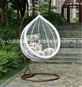 New Design Balcony Big Round Rattan Swing Chair with Stand pictures & photos