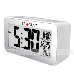 Light Sensor Desk Clock with Selectable Temperature Format Display (CL157)
