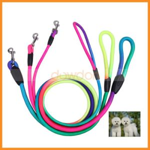 Rainbow Color Weave Nylon Belt Pet Dog Traction Rope Round Training Leash pictures & photos
