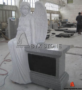 Light Grey Granite Sitting Angel Carving Headstone / Cemetery Monument pictures & photos