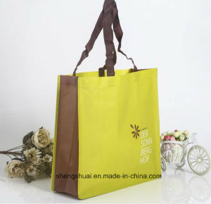 Yellow Color Non Woven Laminated Shopping Tote Bag with Custom Size
