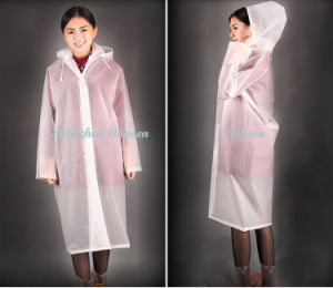 Fashion EVA Long Raincoat with Removable Hood pictures & photos
