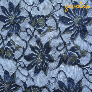 New Blue Flower Mesh Lace Fabric pictures & photos