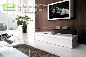 New Glass TV Stand with White MDF Cabinet pictures & photos