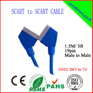 100% Tested 1.5m 21pin Scart with RoHS Certificate (SY019) pictures & photos