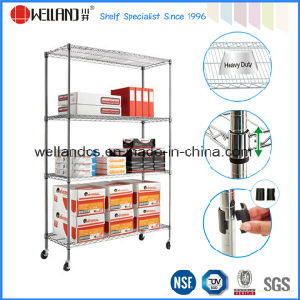 Mobile 4 Tiers Heavy Duty Adjustable Metal Commercial Wire Shelving pictures & photos