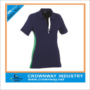 Custom Golf Women Polo Shirts with Reflective Printing pictures & photos