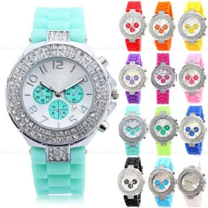 New Fashion Colorful Silicone Wristband Crystal Jelly Watch pictures & photos