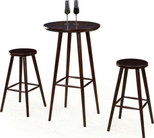 Round Wood Bar Table and Stool Set (FOH-BCA70) pictures & photos