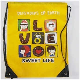 Promotion Drawstring Clothing Bags, Cartoon Backpack Bags