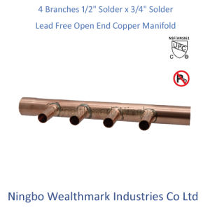 "Lead Free 4 Branches 1/2"" Solder X 3/4"" Solder Open End Copper Manifold pictures & photos"