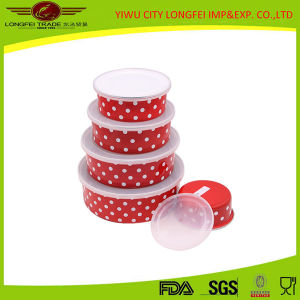 Red Volor 5PCS Enamel Salad Bowl Set with Plastic Lid pictures & photos