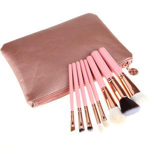 8 PCS Natural Hair Cosmetic Brush Pink Handle Rose Gold Ferrule Makeup Brush pictures & photos