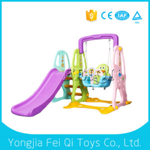 Indoor Playground Plastic Slide and Swing, Basketball Stand Kids Toy C Series pictures & photos