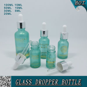 Transparent Blue Cosmetic Essential Oil Glass Bottle with Transfer Pipettes Eye Dropper pictures & photos