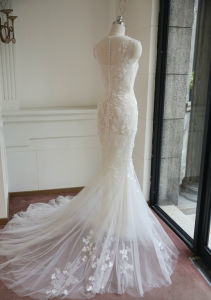 2017 Korea Mermaid 3 Layers Bridal Wedding Dress with Flower Decoration pictures & photos