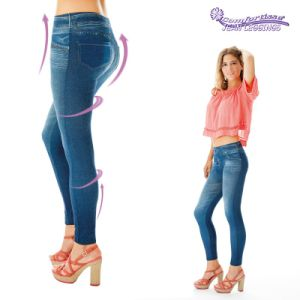 Comfort High Elastic All-Match Blue Retro Slim Jeggings pictures & photos