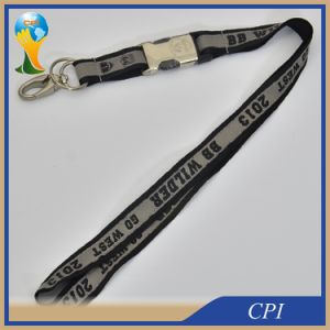 Thick Double Layers Satin Ribbon Lanyard with Half Metal Buckle pictures & photos