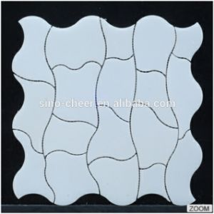 Wave Pattern Pure White Water Jet Marble Stone Mosaic pictures & photos