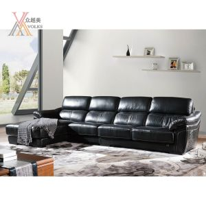Fashion Black Leather Sofa with Corner (1651A)