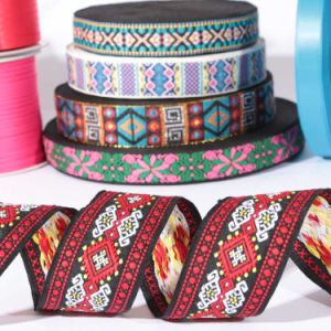Cheap Woven Colorful Ethnic Printed Jacquard Flower Ribbon