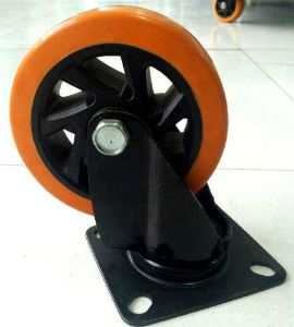 4 Inch-5 Inch Medium Heavy PU Swivel Castor Wheel with E-Coating Bracket pictures & photos