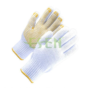 High Quality Industrial Protedting Cotton Hand Gloves PVC Dots pictures & photos
