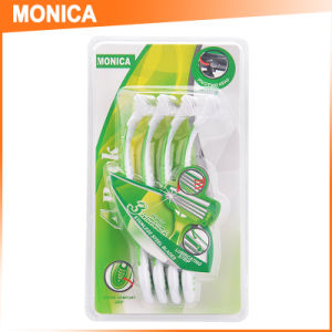 Green Rubber3 Safety Straight Disposable Razor 4PC Blister Pack pictures & photos