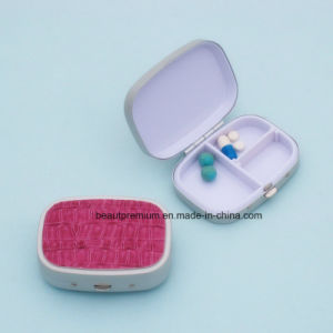 Hot Sell Red Leather 3 Compartments Portable Rectangle Pill Box  BPS0227 pictures & photos