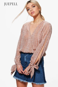 Stripe Wrap Tie Batwing Sleeve Women Blouse pictures & photos