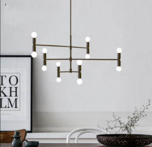 Postmodern Style Decorative Living Room Bedroom Suspension Hanging Pendant Lamp Lighting in Black/Gold Color pictures & photos