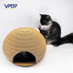 Oval Shape Corrugated Cardboard Box Cat Playhouse pictures & photos