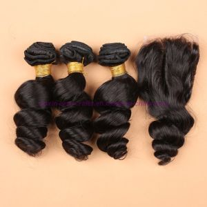 3/4 Bundles Peruvian Virgin Hair Weft Loose Wave with Silk Base Closure Wavy Hair Extensions with Silk Base Closure pictures & photos