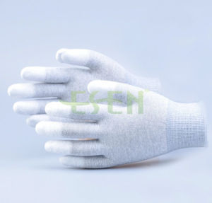 High Quality ESD Fingertip PU Coated Gloves, Palm Fit Gloves with Carbon Fiber pictures & photos