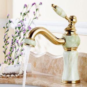 Flg Jade Painting Brass Bathroom Basin Faucet with Single Hole pictures & photos