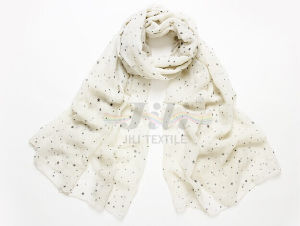 Star Print White Soft and Warm Voile Scarf pictures & photos