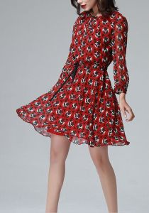 Summer Red Round Flower Print Long Sleeve Women′s Dress pictures & photos