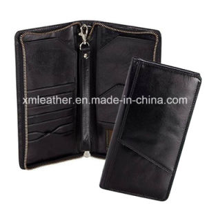 Leather Passport Holder Document Cover Wallet with Zipper pictures & photos