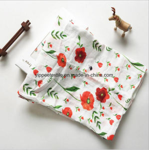 Custom Printed Cotton Muslin Swaddle Blanket Wrap in 120X120cm/120X100cm pictures & photos