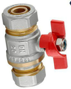 Double Union Connector Brass Butterfly Ball Valve pictures & photos