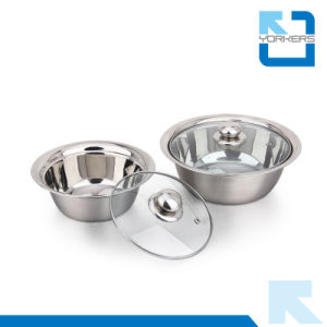 European Style Stainless Steel Mixing Bowl and Salad Bowl Set with Glass Lid pictures & photos