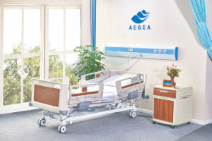 AG-By002 Five Functions Wooden Central-Controlled Brakes Electric Hospital Bed pictures & photos